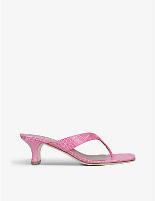 PARIS TEXAS: Infradito crocodile-embossed leather heeled sandals