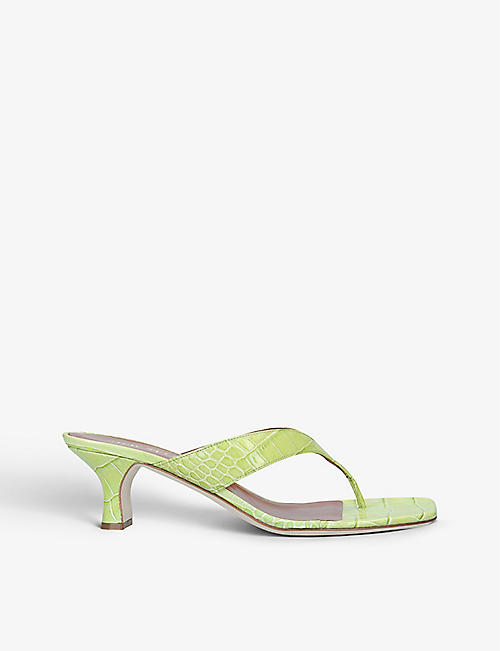 PARIS TEXAS: Infradito 45 crocodile-embossed leather mules