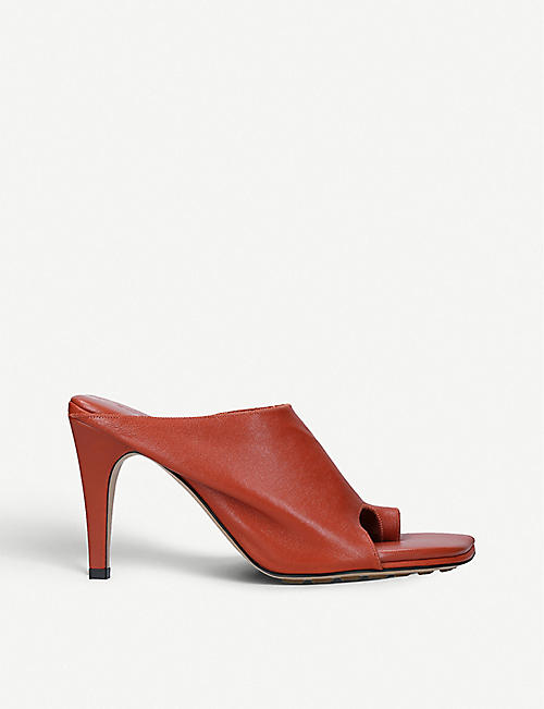 BOTTEGA VENETA: Open-toe leather heeled mules