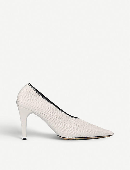 BOTTEGA VENETA: Square-toe textured-leather courts