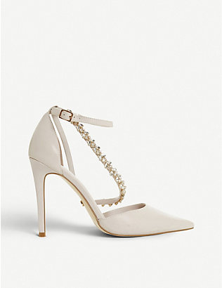 DUNE: Diazz embellished open-toe court shoes