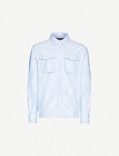 BILLIONAIRE BOYS CLUB: Brand-print oversized cotton shirt