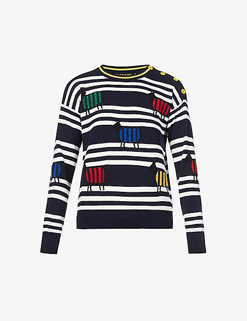 BENETTON: Striped cotton-knit jumper