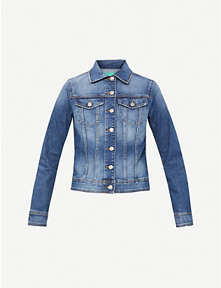 BENETTON: Faded stretch-denim jacket