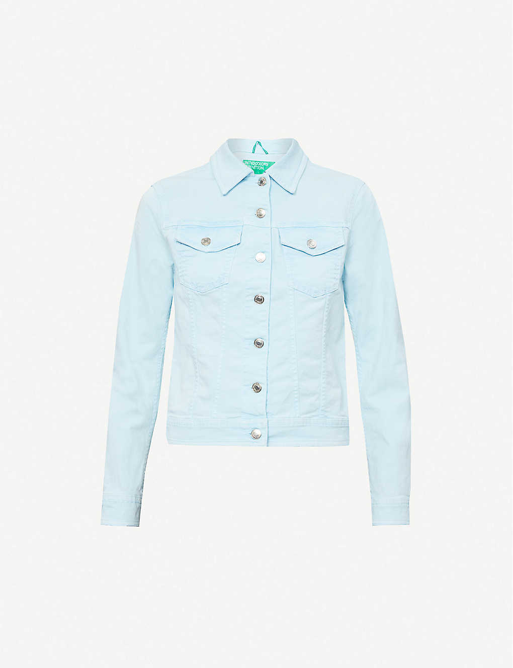 BENETTON: Spread collar stretch organic-cotton denim jacket