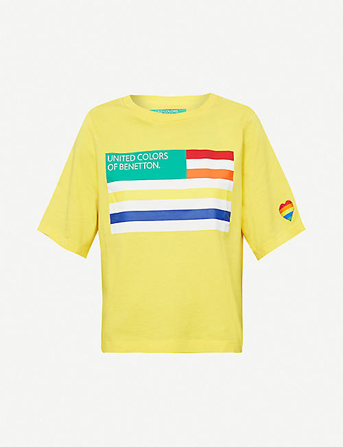 BENETTON: Logo flag-print cotton-jersey T-shirt