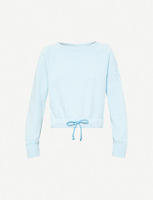 BENETTON: Logo-embroidered cotton-jersey sweatshirt