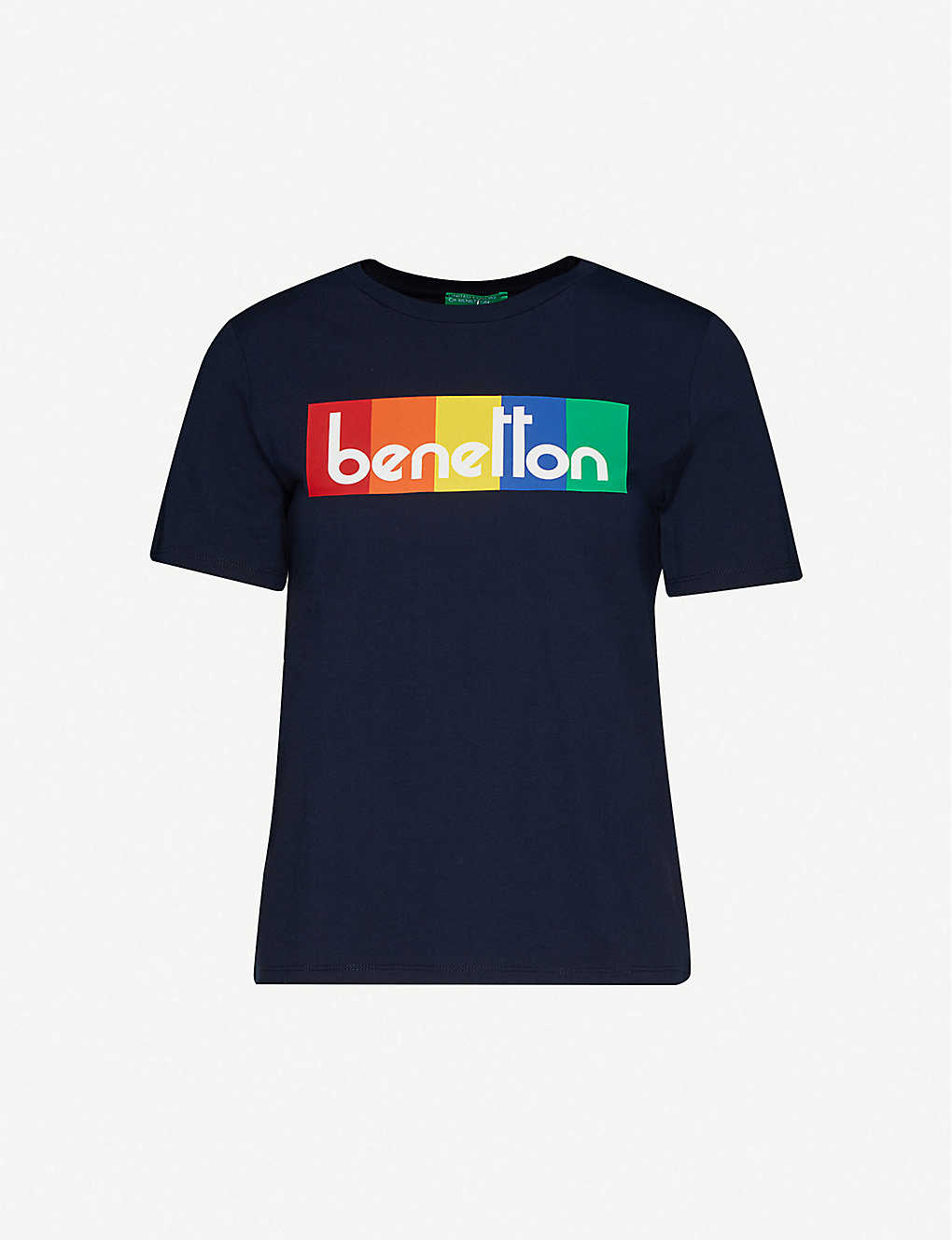 BENETTON: Brand-print striped cotton-jersey T-shirt