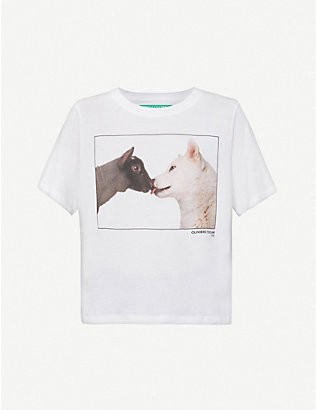 BENETTON: Graphic-print cotton-jersey T-shirt