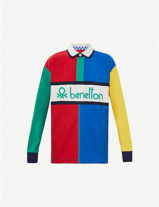 BENETTON: Colour-block cotton polo shirt
