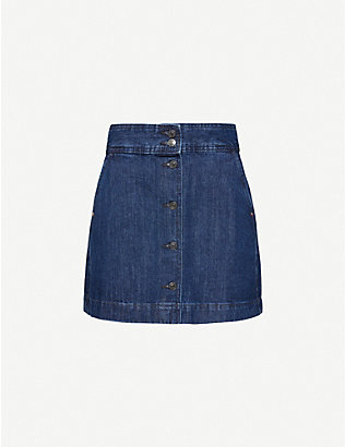 BENETTON: Button-through denim mini skirt