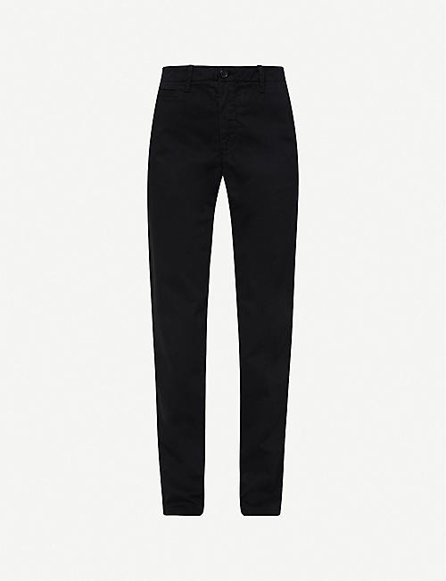 BENETTON: Straight mid-rise cotton-twill trousers