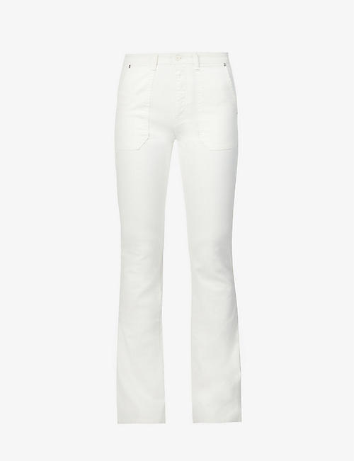 BENETTON: High-rise slim-fit flared stretch-cotton jeans