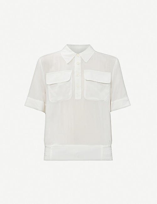 BENETTON: Shirred-waist woven shirt
