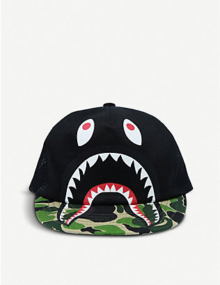 A BATHING APE: Kids Shark camo-print cotton and mesh cap