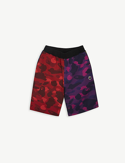 A BATHING APE: Crazy Camo cotton-jersey shorts 4-8 years