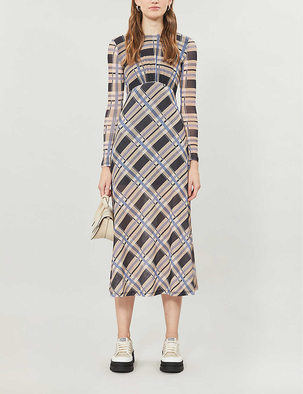 TOPSHOP: Checked woven midi dress