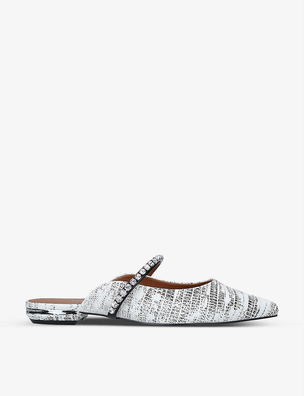 KURT GEIGER LONDON: Princely 2 snake-print faux leather mules