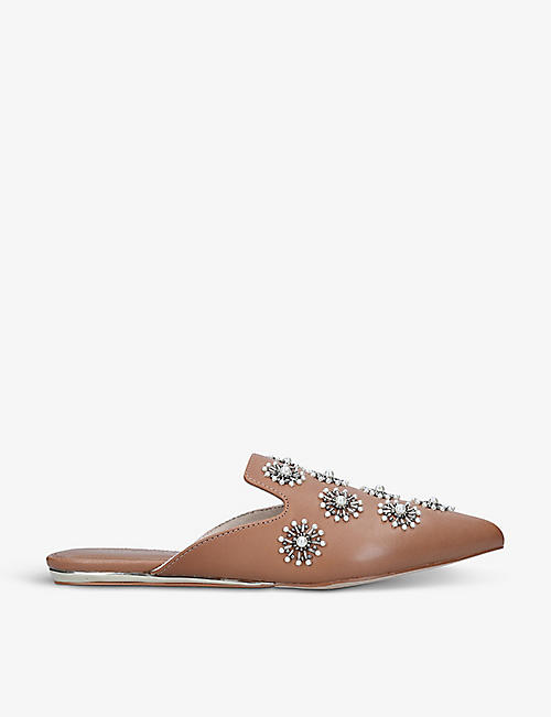 KURT GEIGER LONDON: Olive embellished leather mules