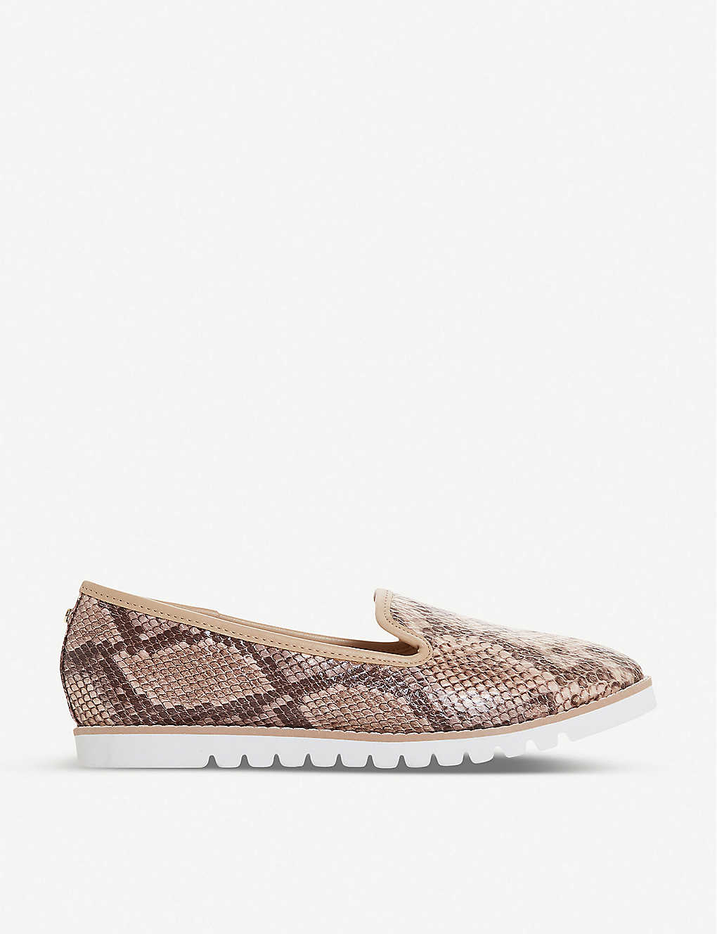 DUNE: Galleon snakeskin-print leather loafers