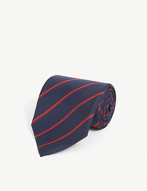 RALPH LAUREN PURPLE LABEL Stripe-print silk tie