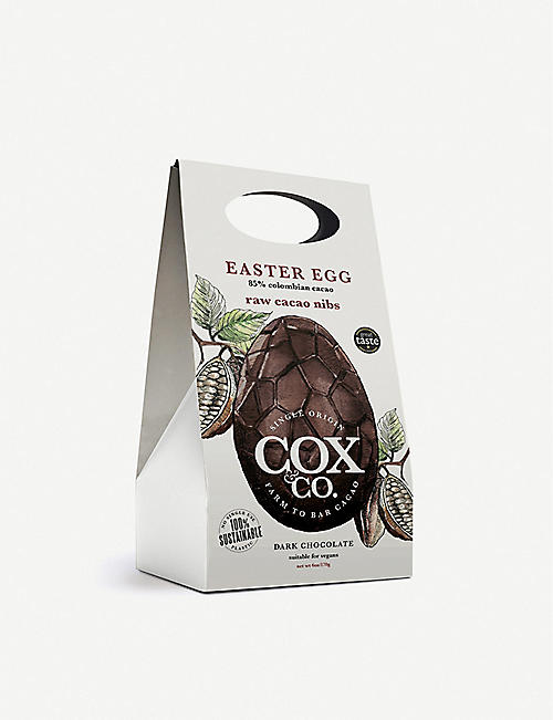 COX & CO: Raw cacao nibs 85% dark chocolate Easter egg 170g