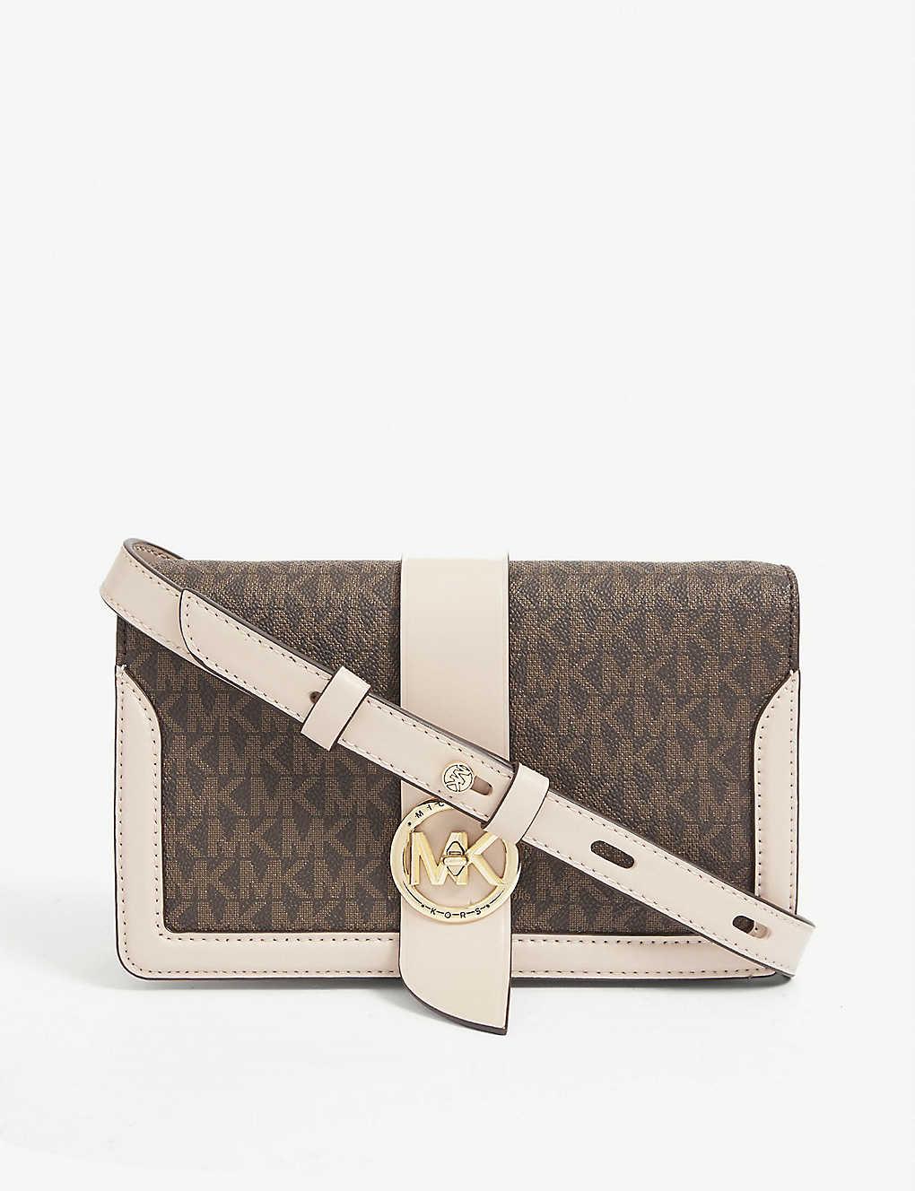 MICHAEL MICHAEL KORS: Logo-print leather and canvas shoulder bag