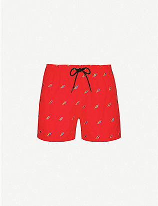 PAUL SMITH: Embroidered pattern swim shorts