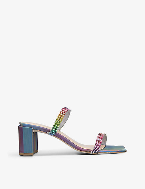 BY FAR: Tanya Unicorn crystal-embellished suede mules