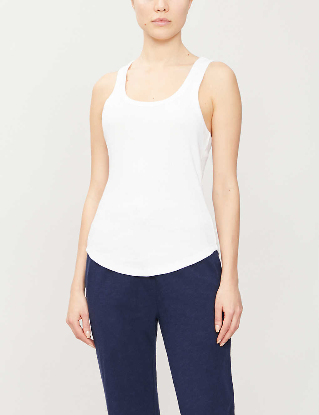 THE UPSIDE: Racerback cotton-jersey vest top