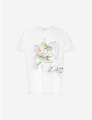 GIVENCHY: Graphic-print cotton-jersey T-shirt