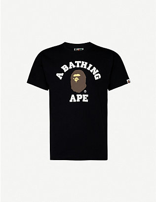 A BATHING APE: College cotton-jersey T-shirt