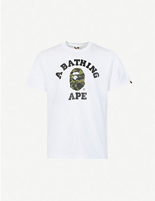 A BATHING APE: College camo-print cotton-jersey T-shirt