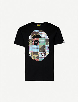 A BATHING APE: Patchwork-print cotton-jersey T-shirt
