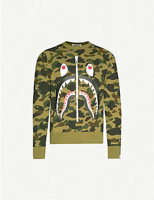A BATHING APE: 1st Camo Shark cotton-jersey jumper