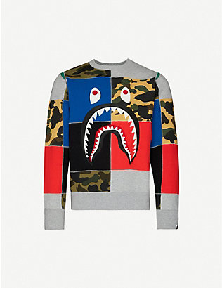 A BATHING APE: Patchwork shark-print cotton-jersey sweatshirt