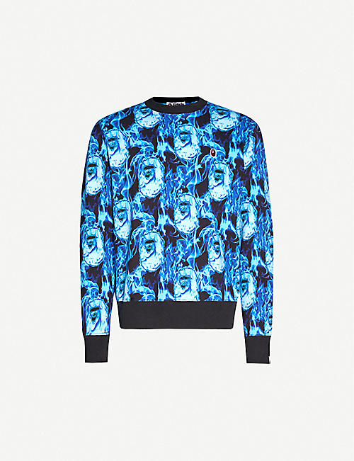 A BATHING APE Flame wide cotton-jersey jumper