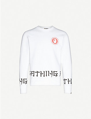 A BATHING APE: Lettered wide cotton-jersey sweatshirt