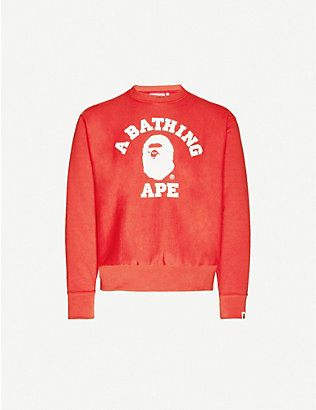 A BATHING APE: College wide cotton-jersey jumper