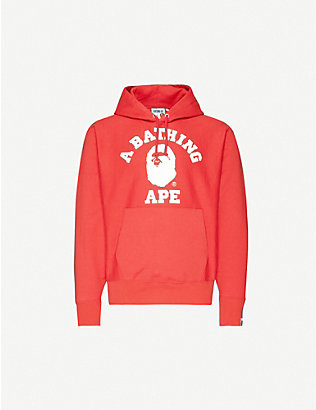 A BATHING APE: College relaxed-fit cotton-jersey hoody