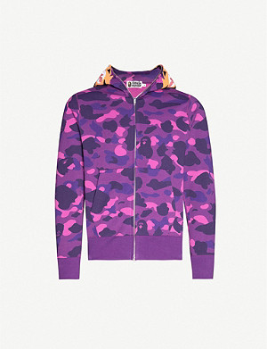 A BATHING APE Tiger camouflage cotton-jersey zip-up hoody