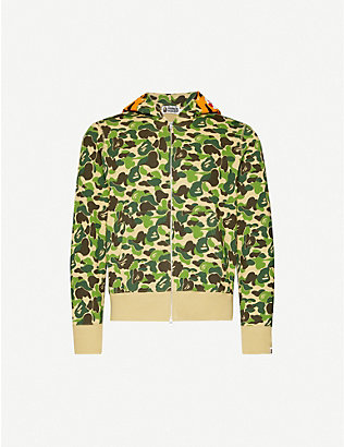 A BATHING APE: Tiger-print camouflage cotton-jersey hoody