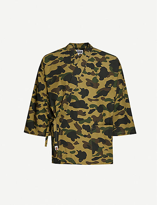 A BATHING APE: Camo-print wrap cotton kimono shirt