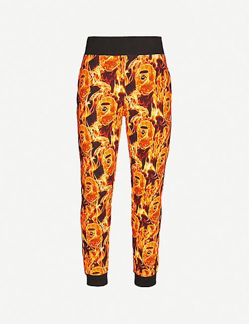 A BATHING APE Flame cotton-jersey jogging bottoms