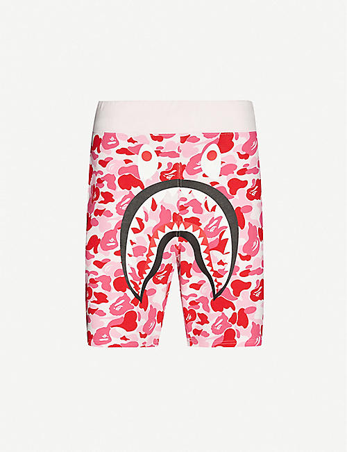 A BATHING APE Camouflage shark cotton-jersey shorts