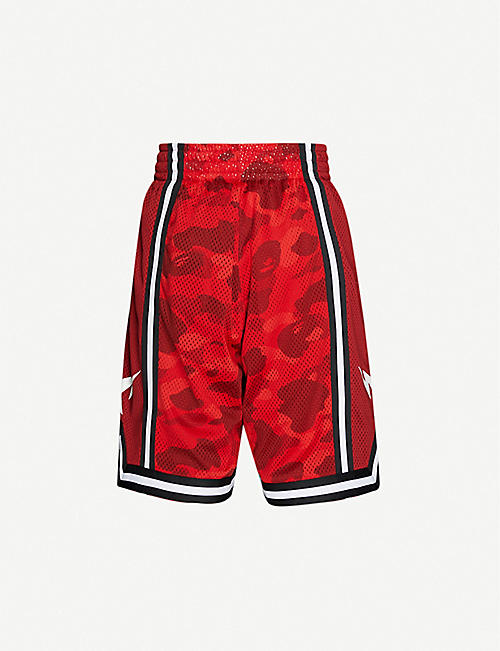 A BATHING APE: Camo basketball mesh shorts