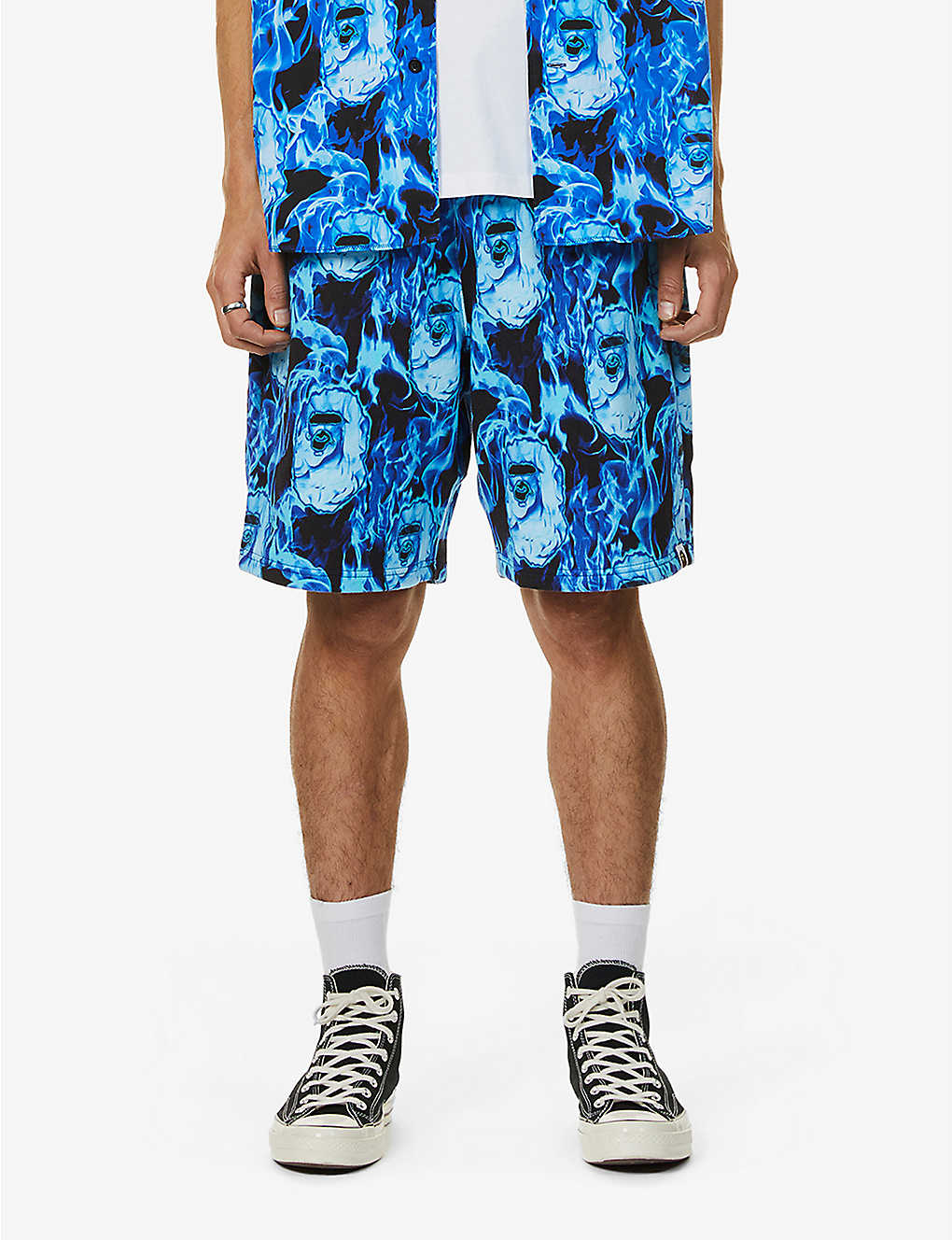 A BATHING APE: Flame print cotton-jersey shorts