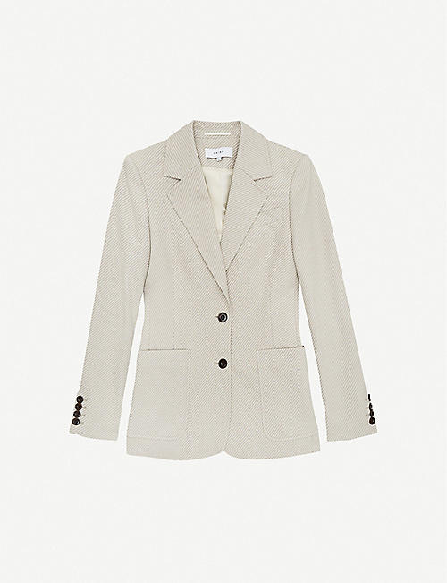 REISS: Alecia single-breasted cotton-blend jacket