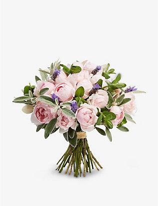 THE REAL FLOWER COMPANY: Simply Peony Pink Rose small scented bouquet