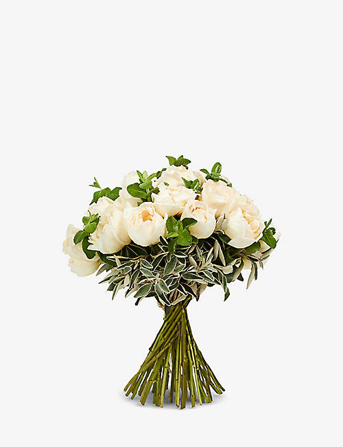 THE REAL FLOWER COMPANY: Simply Cream Piaget medium scented bouquet